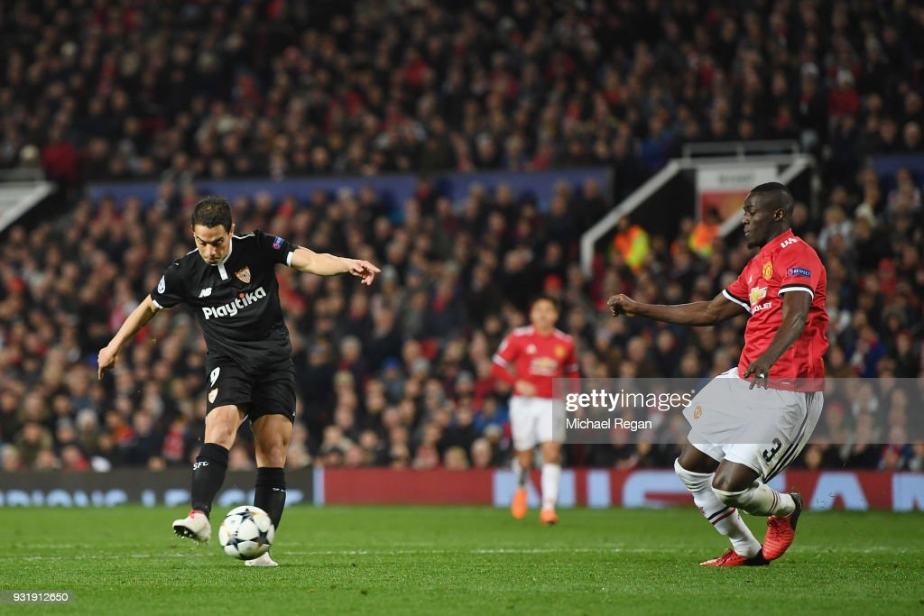 Wissam Ben Yedder of Sevilla scores their first goal during the UEFA Champions League Round of 16 Second Leg match between Manchester United and Sevilla FC at Old Trafford on March 13, 2018 in Manchester, United Kingdom.