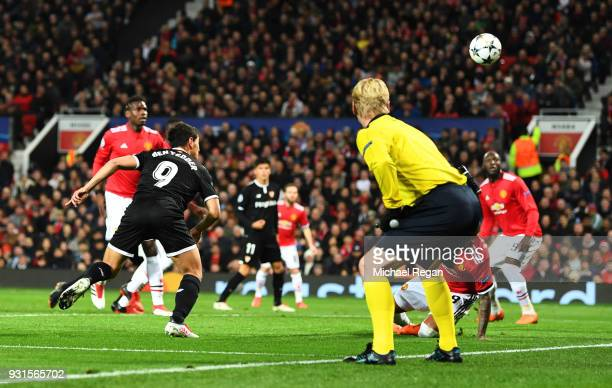 Wissam Ben Yedder of Sevilla scores their second goal during the UEFA Champions League Round of 16 Second Leg match between Manchester United and...