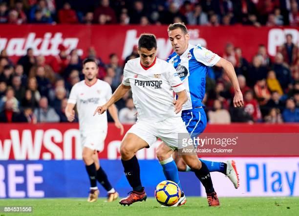 Wissam Ben Yedder of Sevilla scoring goal during the La Liga match between Sevilla and Deportivo La Coruna at Estadio Ramon Sanchez Pizjuan on...