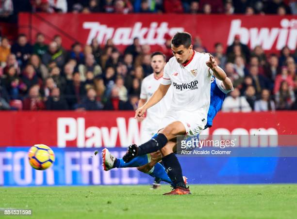 Wissam Ben Yedder of Sevilla scoring goal during the La Liga match between Sevilla and Deportivo La Coruna at Estadio Ramon Sanchez Pizjuan on...