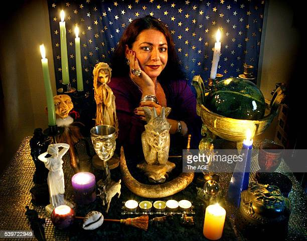 Witch Carolin Tully at her altar 15 October 2005 The AGE Picture by CRAIG SILLITOE