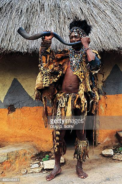 Witch doctor from the Karanga clan of the Shona tribe in a village near Masvingo Zimbabwe