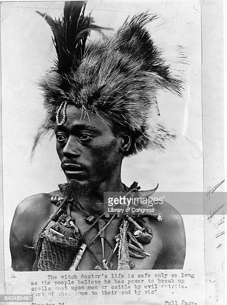 A witch doctor in Africa in the 1920s
