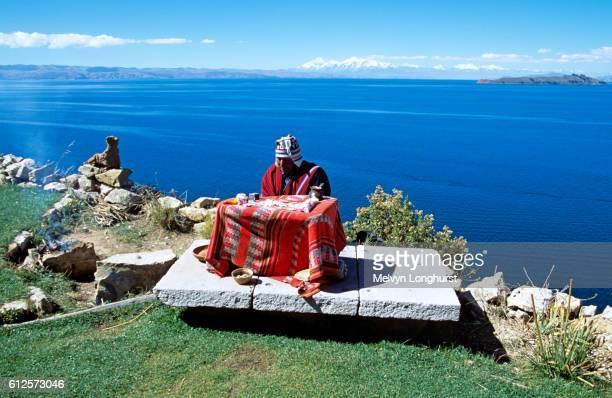 Witch Doctor, Inti Wata Cultural Complex, Sun Island, Lake Titicaca, near Copacabana, Bolivia