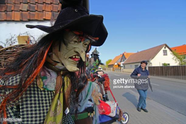 Witch figures advertise the Walpurgis Night in the Harz Mountains in Drubeck Germany 27 April 2017 The traditional Walpurgis Night will take place...