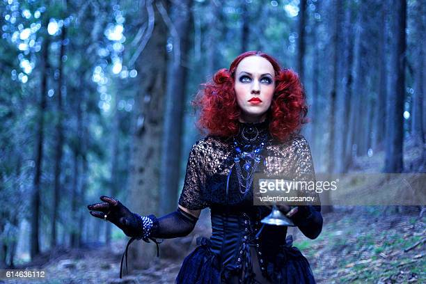 witch in the forest. halloween theme - movie poster stock photos and pictures