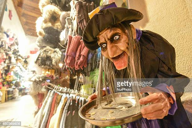 Witch outside a shop on Florianska Street, in Krakow. On Friday, 20 January 2017, in Krakow, Poland.