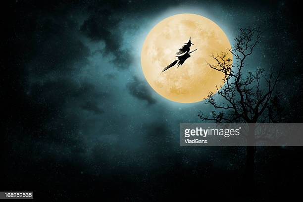 witch riding a broom - witch flying on broom stock photos and pictures