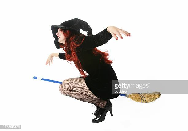 witch series - witch flying on broom stock photos and pictures