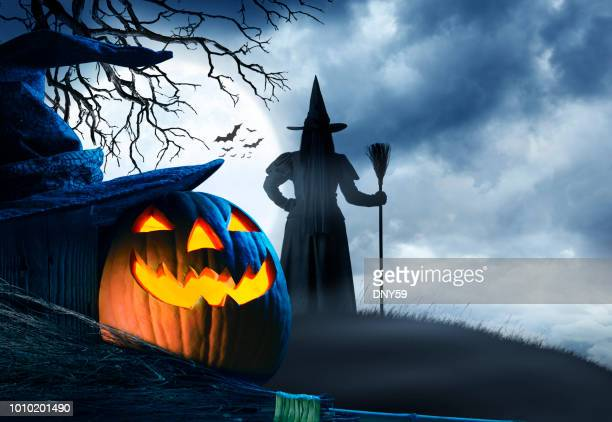 witch stands on small hill in front of halloween moon - broom stock pictures, royalty-free photos & images
