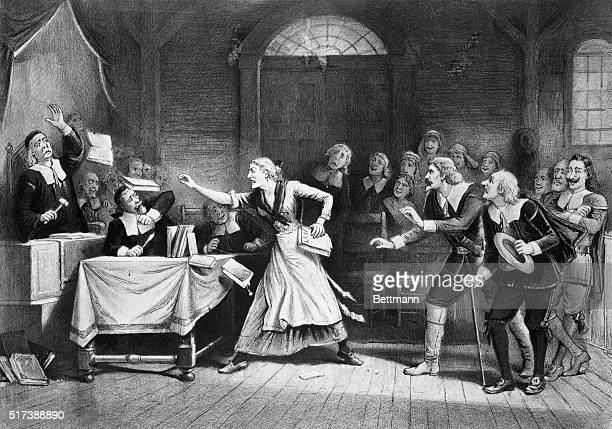 Witch trial in Salem, Massachusetts. Lithograph by George H. Walker. Undated
