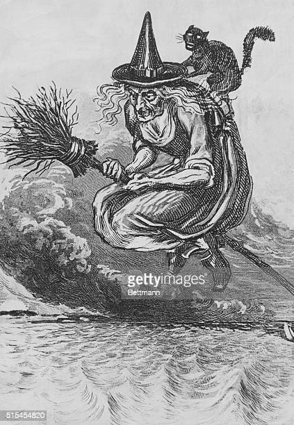 Picture shows a witch and a cat on a broom about the middle of the 15th century Undated engraving BPA2# 5471