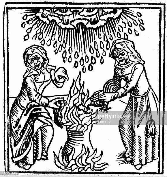 Witches casting a spell to bring rain1489Woodcut from Ulrich Molitor 'De Laniis et phitonicis mulieribus'Constance