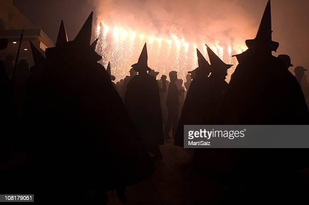 witches dancing in the night 2 - halloween party stock photos and pictures