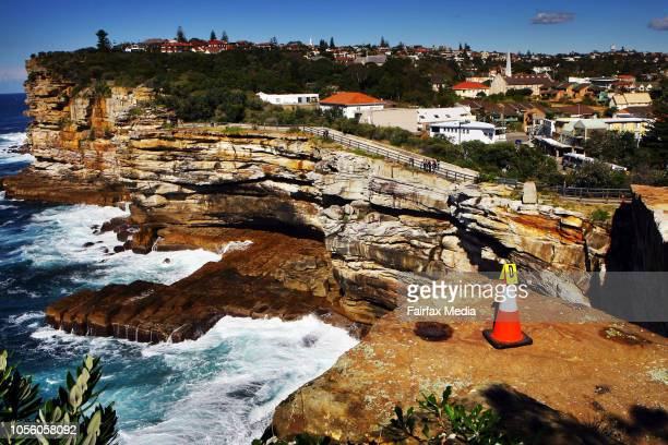 SYDNEY AUSTRALIA Witches hat mark the spot at a Sydney cliff where a model was allegedly thrown to her death by her boyfriend Gordon Wood has pleaded...
