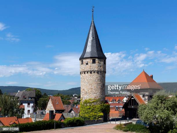 witches' tower and hesse tower, bridge keeper's house, medieval city walls, bad homburg, main-taunus-kreis, hesse, germany - bad homburg stock pictures, royalty-free photos & images