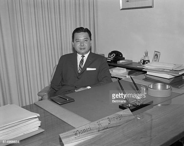 With a chance to become the first man of Japanese ancestry ever to win election to the US Senate Daniel Inouye wears an expression of confidence at...