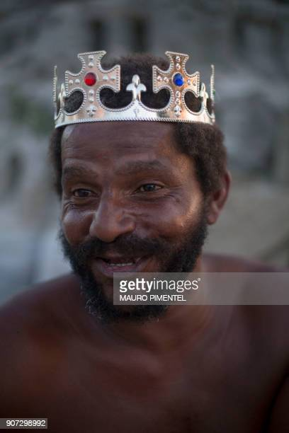 With a crown on his head Marcio Mizael Matolias poses for a portrait at Barra da Tijuca beach in Rio de Janeiro Brazil on January 18 2018 For the...