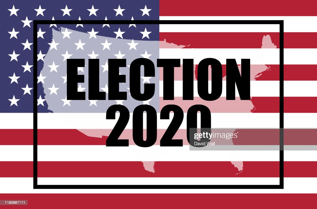 Election, 2020 concept. The American flag and moving text - ELECTION 2020. With a double exposure of a map of the United States on top. With a glitch, animated edit : Stockfoto