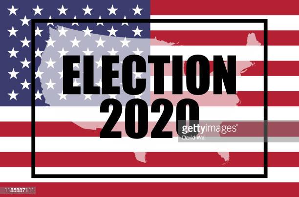 election, 2020 concept. the american flag and moving text - election 2020. with a double exposure of a map of the united states on top. with a glitch, animated edit - elecciones fotografías e imágenes de stock