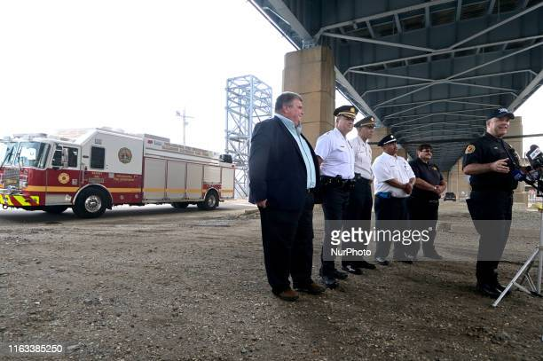 With a Hazmat apparatus as a backdrop emergency officials give updates on the ongoing emergency work after the June explosion at Philadelphia Energy...