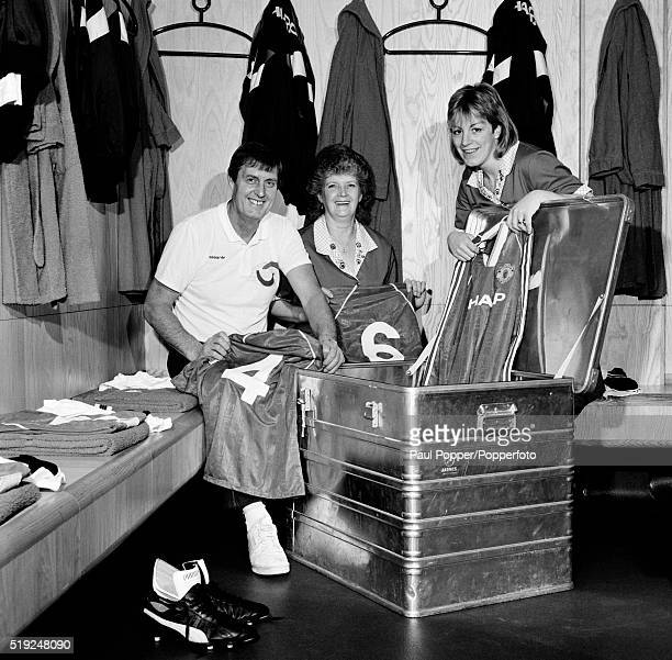 With a little help from the laundry ladies, Manchester United kitman Norman Davies packs the skip for an away fixture, circa August 1986.