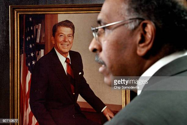 With a photograph of former President Ronald Reagan hanging on the wall Republican National Committee Chairman Michael Steele holds a news conference...