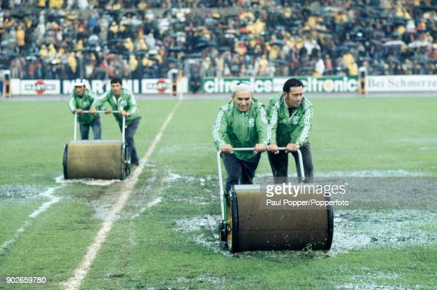 With a severly waterlogged pitch the groundstaff worked tirelessly to make sure that the match went ahead as planned prior to the FIFA World Cup...