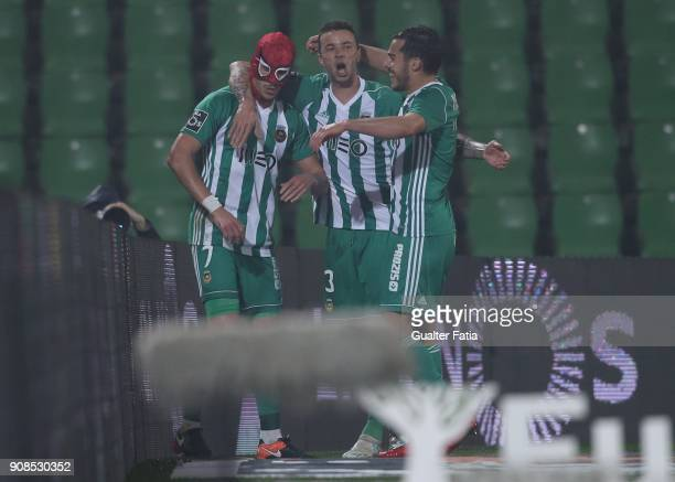 With a SpiderMan mask Rio Ave FC forward Helder Guedes from Portugal celebrates with teammates after scoring a goal during the Primeira Liga match...