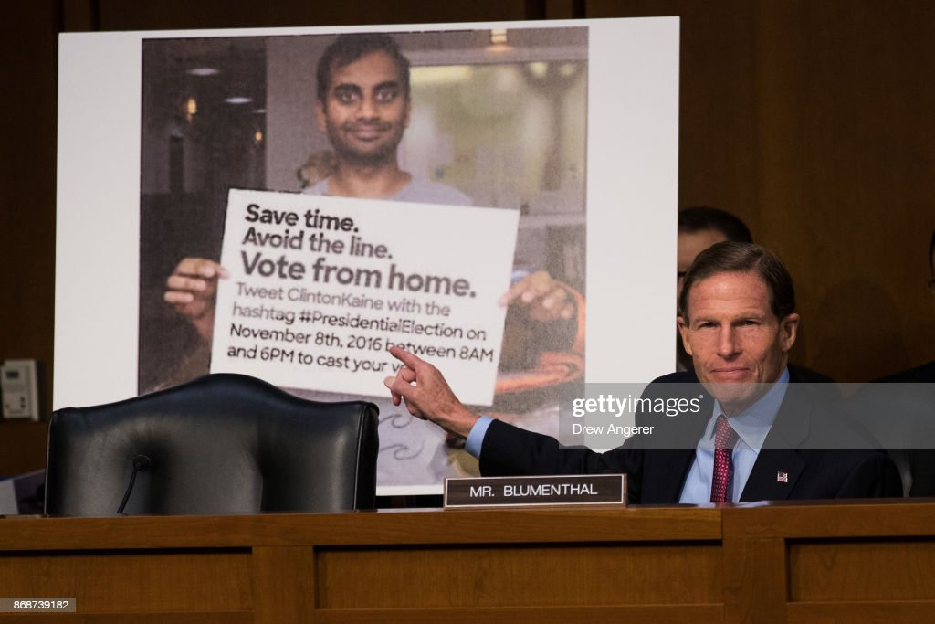 Facebook, Google And Twitter Testify Before Congress On Russian Disinformation : News Photo
