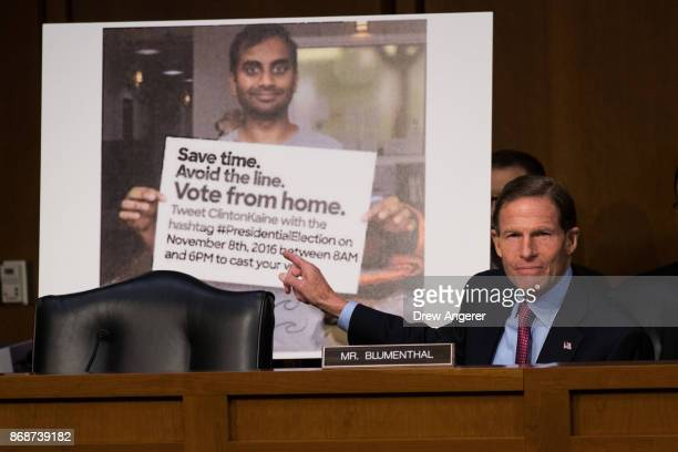 With a Twitter post encouraging voters to vote from home displayed behind him Sen Richard Blumenthal questions witnesses during a Senate Judiciary...