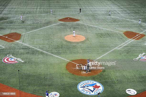 With Adam Lind batting the Boston Red Sox use a a slight infield shift whith as the Toronto Blue Jays take on the Boston Red Sox at the Rogers Centre.