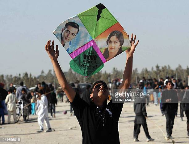 TO GO with AfghanistansocialleisureNewYear by Joris Fioriti In this picture taken on March 21 2012 an Afghan teenager prepares to fly his kite...