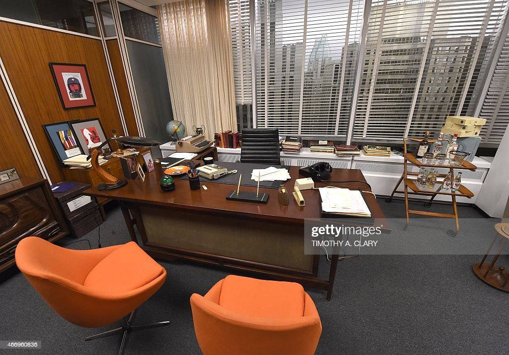 Entertainment-US-television-MadMen-museum,FOCUS Don Draper's office at Sterling Cooper Draper Pryce, part of Matthew Weiner's 'Mad Men' exhibit, is seen at the Museum of the Moving Image March 18, 2015. The exhibit, which features a number of sets from the television show, with costumes, props, video clips, advertising art, and personal notes, runs from March 14June 14.