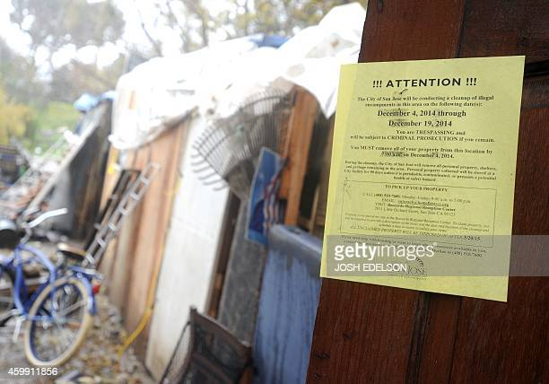 USPovertyHomelessTechnology A sign from the city of San Jose is posted is posted at the Silicon Valley homeless encampment known as 'The Jungle' on...