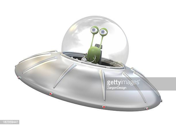 ufo with alien - spaceship stock photos and pictures