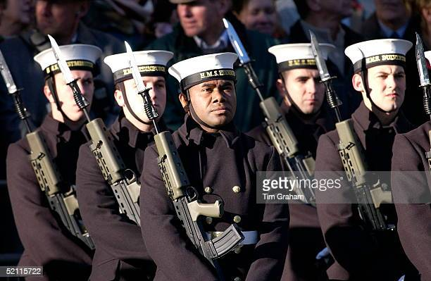 With Bayonets Mounted On Their Rifles Naval Ratings From Hms Edinburgh And Other Ships In The Veterans Parade At The Cenotaph In Whitehall On...