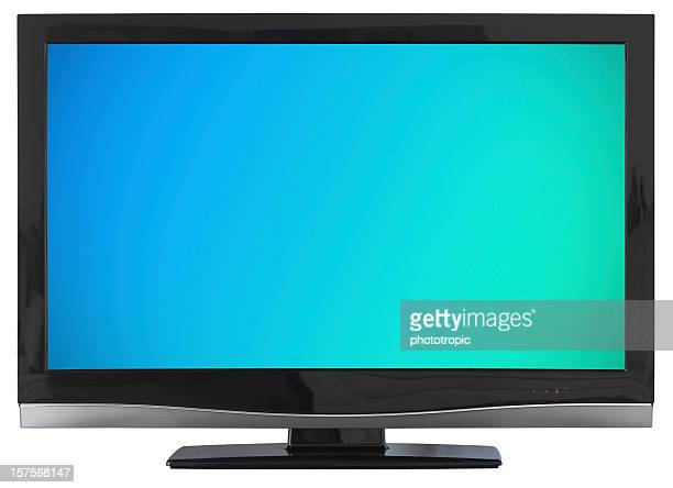 hd tv with blue green screen - lcd television stock pictures, royalty-free photos & images