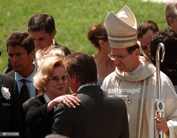 GF––With Cardinal Mahony looking on BARBARA SINATRA is consoled following the Wednesday May 20 funeral services of her husband Frank Sinatra at the...