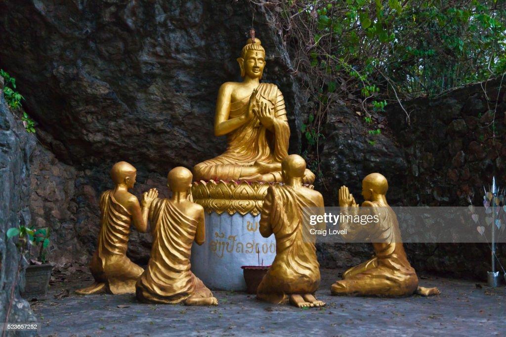 GOLDEN BUDDHA with DESCIPLES on MOUNT PHOUSI : ストックフォト