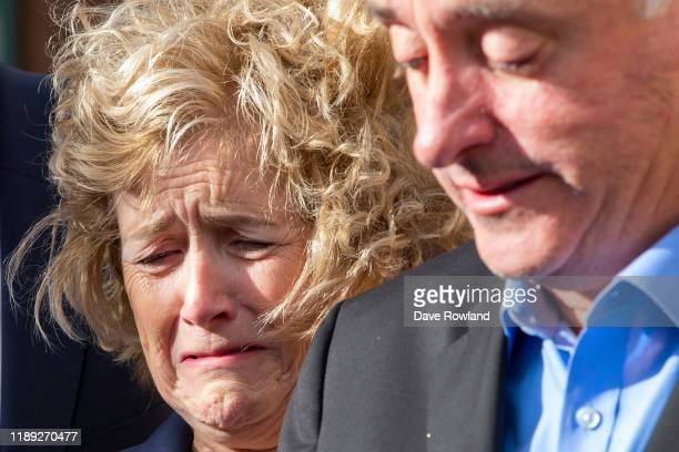 With Detective Inspector Scott Beard the parents of Grace Millane David and Gillian Millane speak to media outside Auckland High Court on Friday 22...