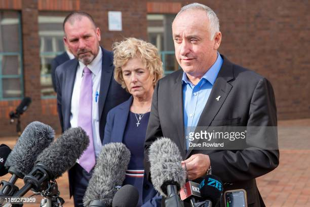 With Detective Inspector Scott Beard the parents of Grace Millane David and Gillian Millane speak to media outside Auckland High Court on November 22...