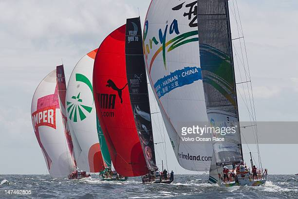 With Emirates Team New Zealand, skippered by Chris Nicholson from Australia, lead the fleet in the Bretagne In-Port Race during the Volvo Ocean Race...