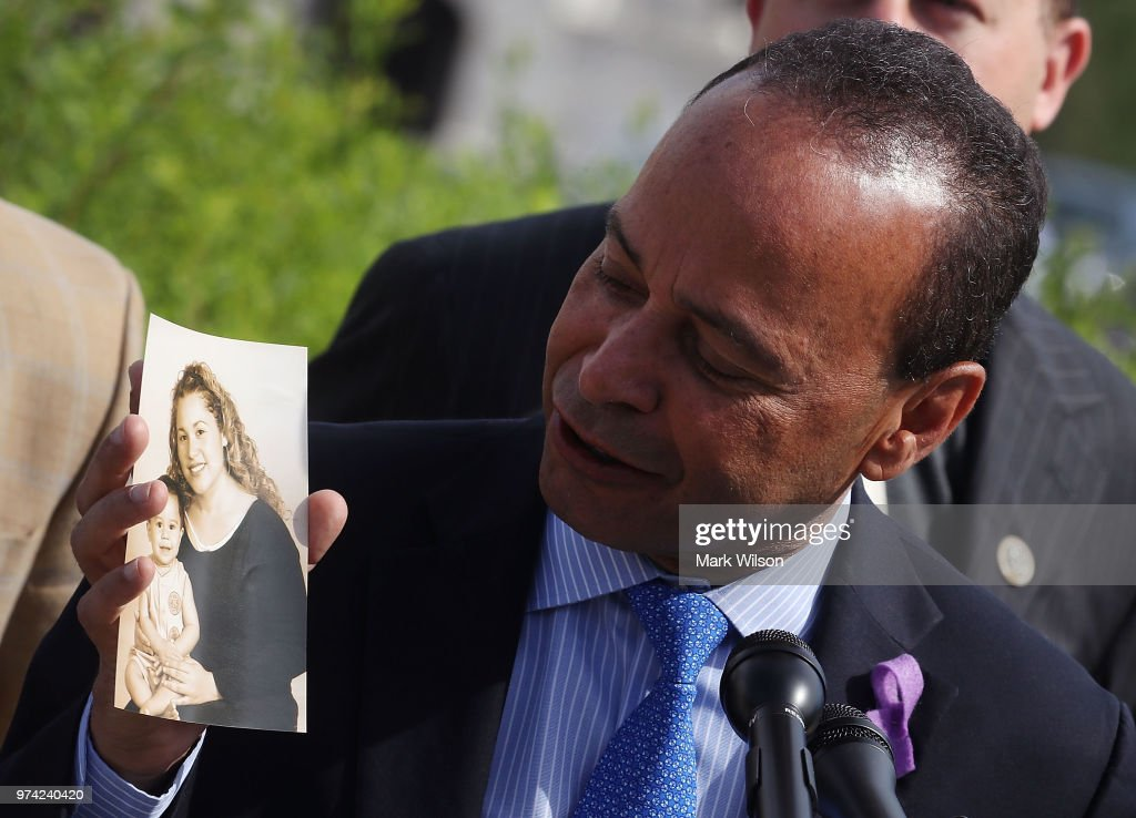 With Father's Day approaching, Rep. Luis Gutierrez (D-IL) holds up a picture of his daughter and grandson during a news conference to urge the Trump administration into ending its policy of separating families at the U.S.- Mexico border on Capitol Hill June 14, 2018 in Washington, DC.