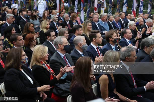 With few wearing masks to protect against the coronavirus, Republican senators Rep. Deb Fischer , Sen. Marsha Blackburn , Sen. Mike Crapo , Sen. Thom...