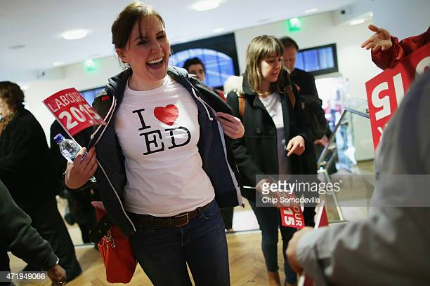 With five days to go before the UK general elections A Labour supporter flashes her 'I love Ed' tshirt while arriving for a rally with leader Ed...
