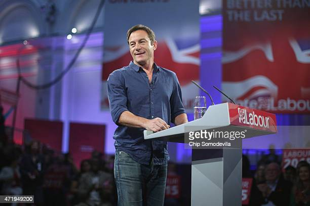 With five days to go before the UK general elections actor Jason Isaacs takes the job of masterorceremonies before introducing Labour leader Ed...
