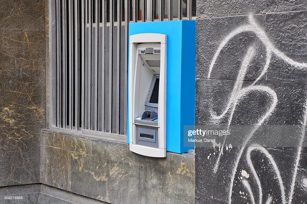 ATM with Graffiti in Lima, Peru : Stock Photo