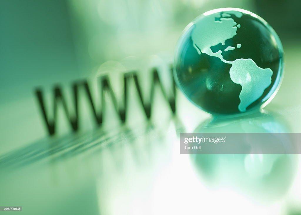 WWW with green globe : Stockfoto