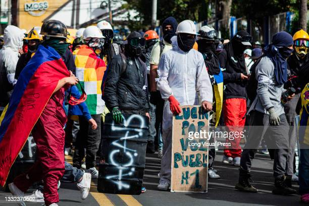 With handcrafted shields front liners participate as demonstrations ended in late-night clashes between riot police and Demonstrators as Colombia...